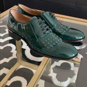 NWT Salvatore ferragamo green patent oxfors sz 9b